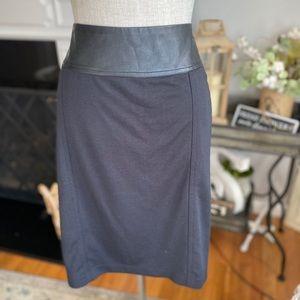 DANA BUCHMAN Ponte Skirt Faux Leather Trim XL EUC